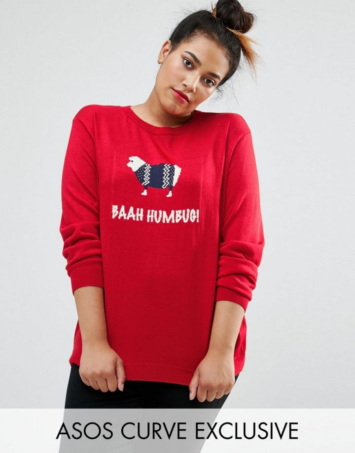 Product photo of ASOS CURVE Christmas Jumper With Bahh Humbug Sheep