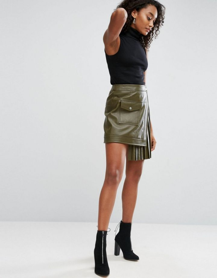 Product photo of ASOS Leather Skirt with Pleated Sides