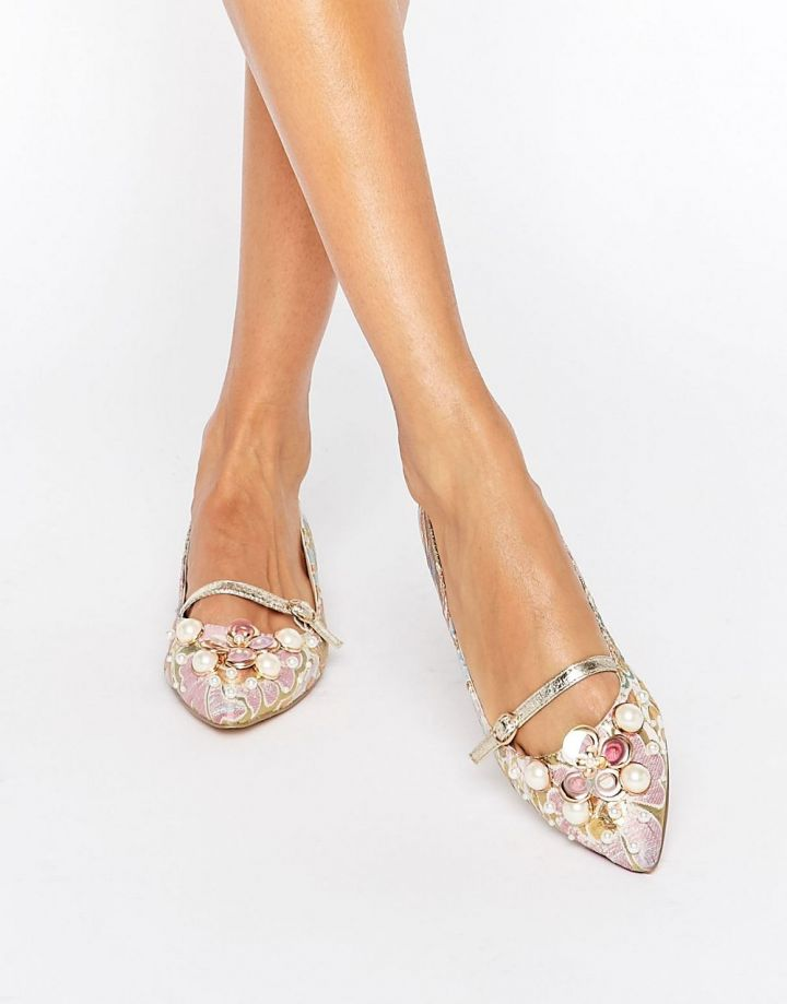 Product photo of ASOS LILI Pearl Embellised Ballet Flats