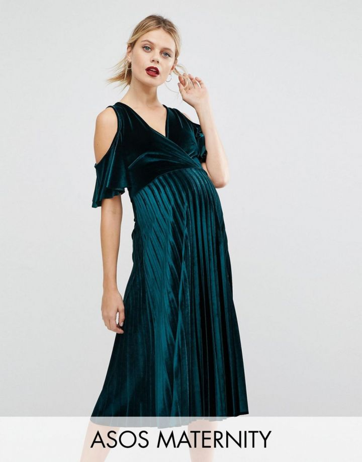 Product photo of ASOS Maternity Cold Shoulder Velvet Pleated Midi Dress