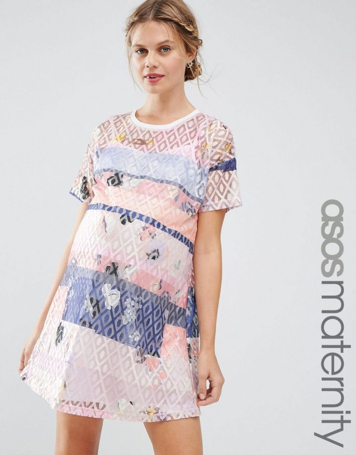 Product photo of ASOS Maternity Lace Printed Shift Dress With Slip