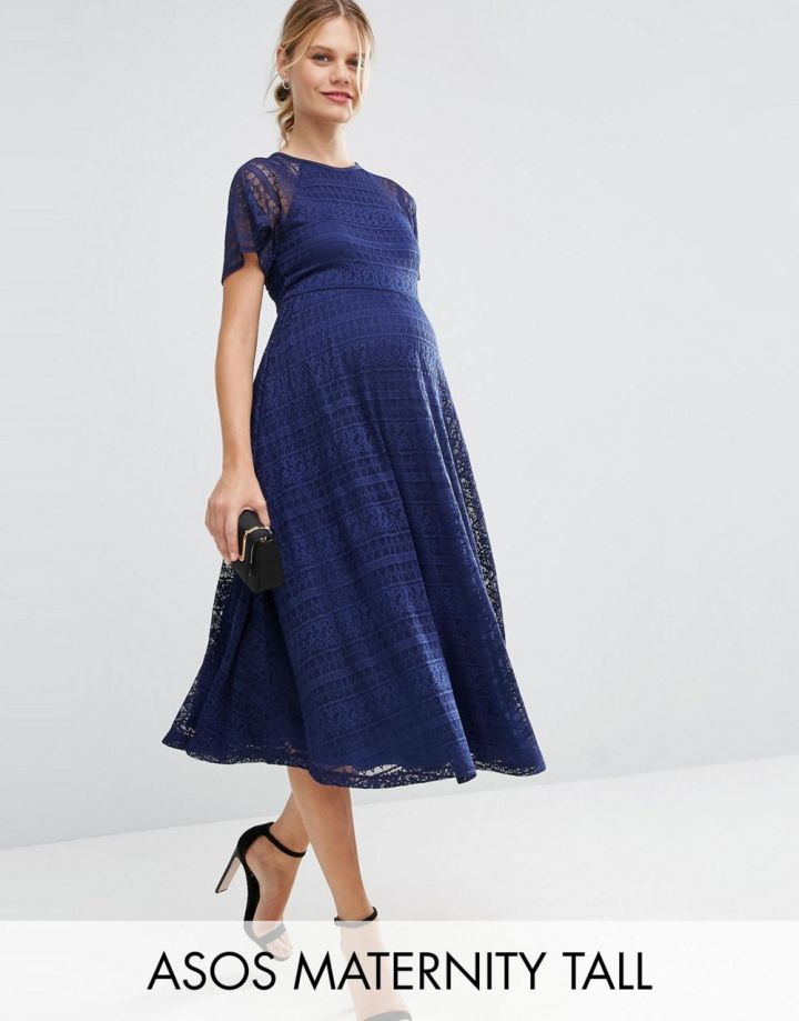 Product photo of ASOS Maternity TALL Midi Lace Dress with Flutter Sleeve
