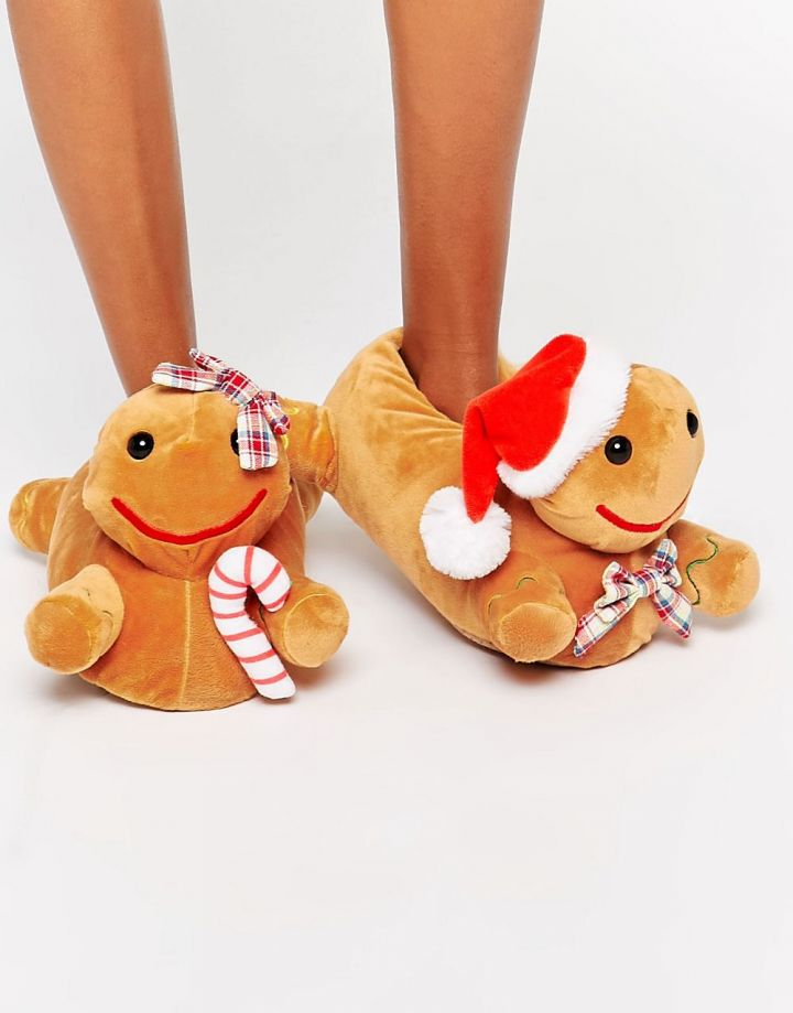 Product photo of ASOS NEWLYBREADS Christmas Gingerbread Slippers