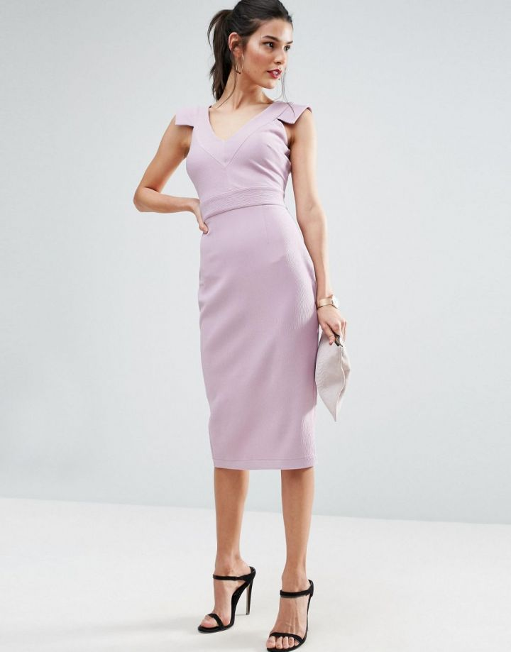 Product photo of ASOS V Front V Back Textured Pencil Dress