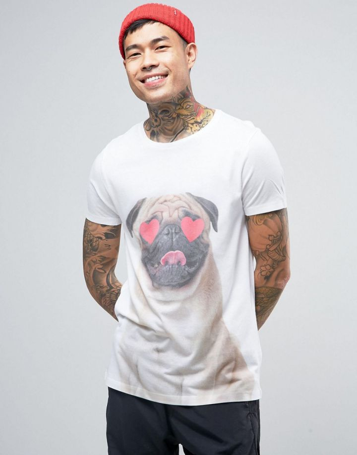 Product photo of ASOS Valentines TShirt With Pug Print