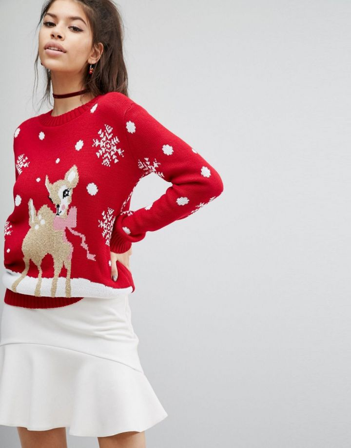 Product photo of Boohoo Deer and Snowflake Christmas Jumper