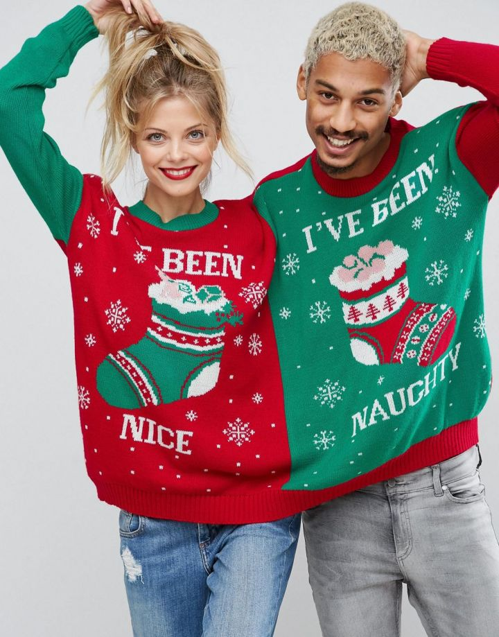 Product photo of Boohoo Two Person Christmas Jumper