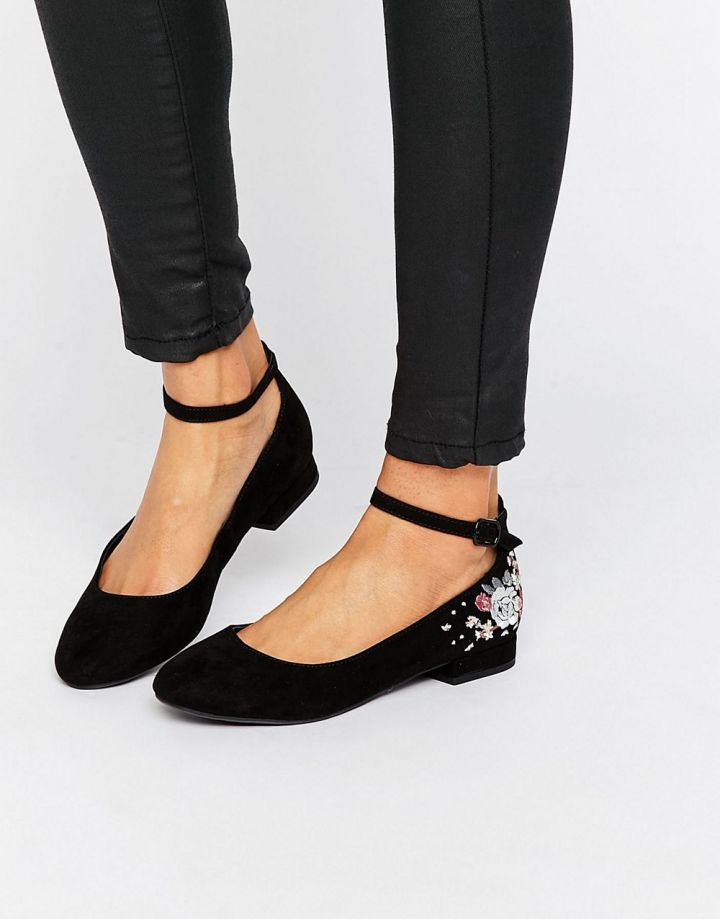 Product photo of New Look Embroidered Ankle Strap Flat Shoe