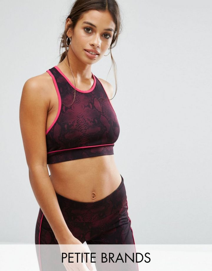 Product photo of Noisy May Petite Kicks Back Snake Print Gym Crop Top