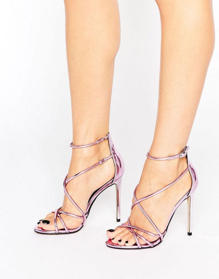 Product photo of Office Spindle Pink Mirror Strappy Heeled Sandals